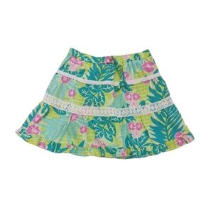 Lily Pulitzer Tropical Print Lined Green Skirt